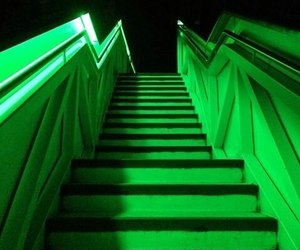 green, aesthetic, and stairs image