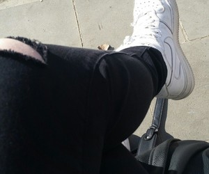 black and white, nike, and black jeans image