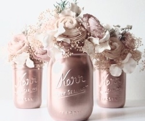flowers, rose gold, and rose image