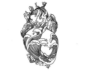 heart, art, and ocean image