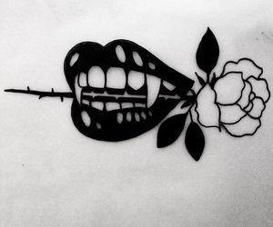 rose, tattoo, and vampire image