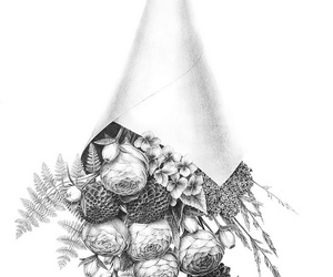 black and white, flowers, and illustration image