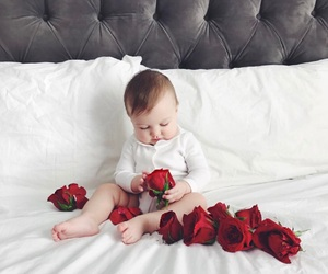 baby, flowers, and roses image