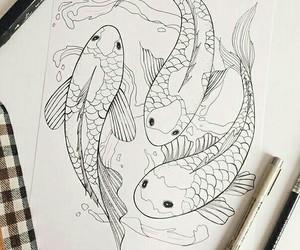 art, koi, and tattoo image