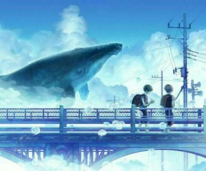anime and whale image