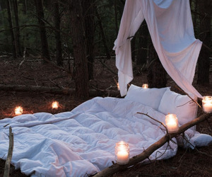 bed, candle, and forest image