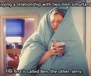ice cream, bridget jones, and ben and jerry image