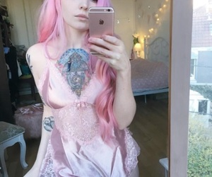 cute girl, pink hair, and tattooed girl image