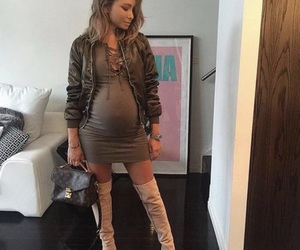baby, pregnant, and dress image