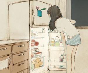 girl, food, and art image