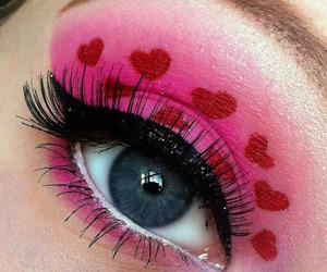 red, makeup, and pink image