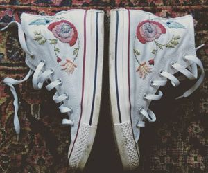 converse, embroidery, and white shoes image
