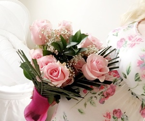 pink roses, pregnancy, and valentines day image