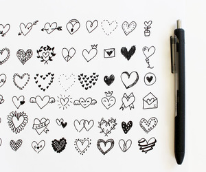 black and white, hearts, and cute image