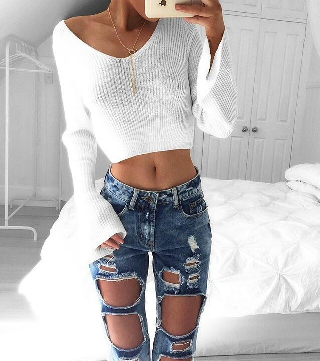 fashion, sweater, and ripped jeans image