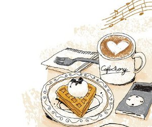 breakfast, coffee, and music image