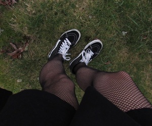 alternative, grass, and fishnets image
