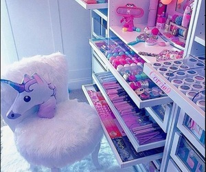 unicorn, pink, and makeup image