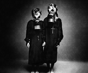 black, black and white, and gas mask image