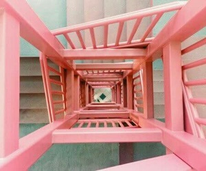 pink, aesthetic, and stairs image