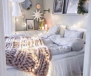 bed, fantasy, and lights image