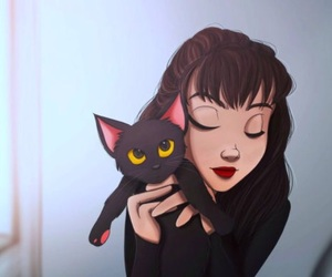 digital, cat lover, and girl and cat drawing image