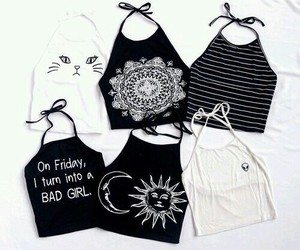 black, white, and outfit image
