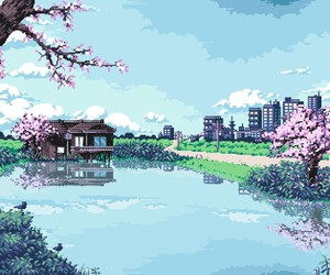 cherry blossom, japan, and pixel image