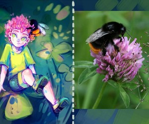 bee, art drawing, and humanization image