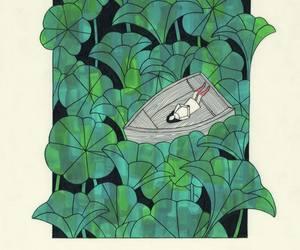 art, girl, and plants image