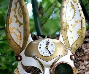 rabbit, mask, and steampunk image