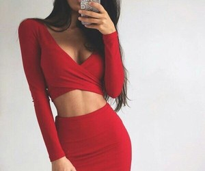 red, fashion, and dress image