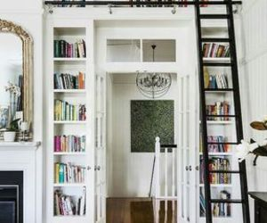 books, decor, and living room image