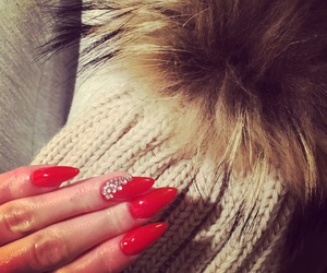 red nails, hot nails, and almond nails image