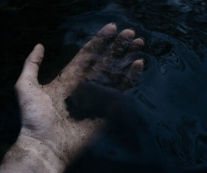 dark, hand, and water image