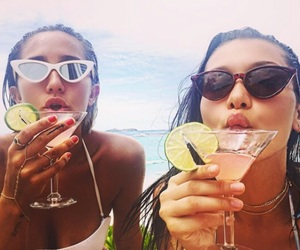 bella hadid, friends, and drink image