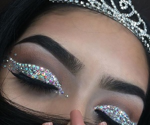 makeup, glitter, and crown image