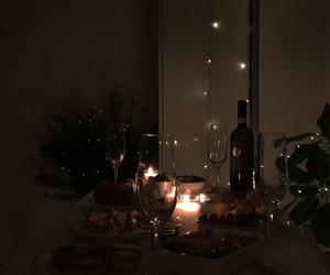 wine, dinner, and dark image