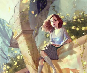 hermione, harry potter, and art image