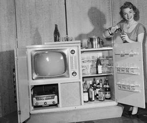 black and white, drink, and tv image