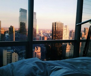 bed, landscape, and city image