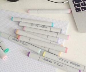pastel, pen, and pale image
