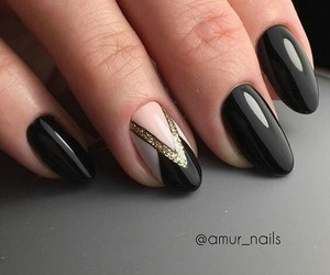 nails black pink wite image