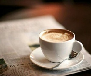 coffee, drink, and newspaper image