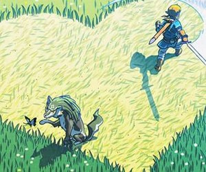 wolf link, breath of the wild, and link image