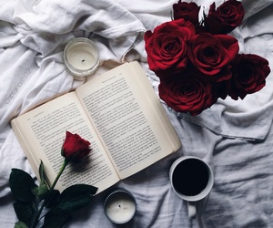 book, rose, and coffee image