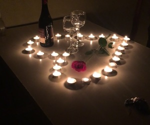 boyfriend, candles, and dinner image