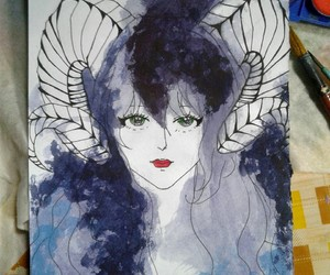 art, zodiac sign, and watercolor drawing image