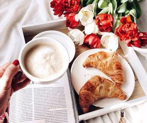 coffee, breakfast, and flowers image