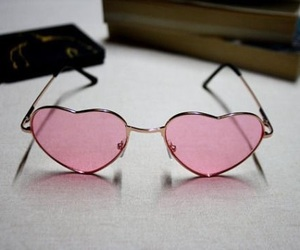 pink, heart, and glasses image